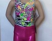 Gymnastics Gift, Gymnastics Bundle, Girls Paint Splatter Leotard w/ Pink Shorts/Scrunch - Gymnastics, Dance or Cheer - Girls Sizes 2 to 12