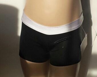Gymnastics Shorts, Girls Size 4, Shiny Black / White Low Waisted Shorts for Gymnastics,  Dance and/or Cheerleading