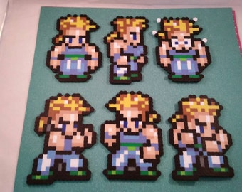 Final Fantasy VI/Final Fantasy III (US) perler bead sprite Sabin choose from 1 of 6 stances or get all 6, plain or magnet