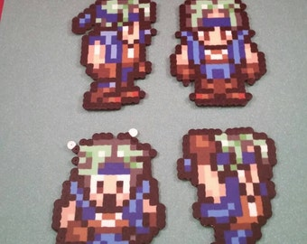 Final Fantasy VI/Final Fantasy III (US) perler bead sprite Locke choose from 1 of 4 stances or get all 4, plain or magnet