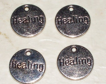 """4 Antiqued Silver """"Healing"""" Charms"""