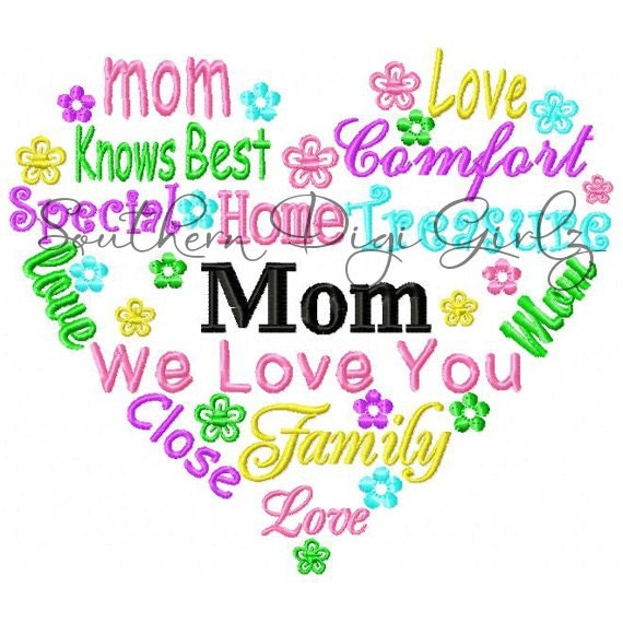 Mom Heart Word Art Embroidery Design INSTANT DOWNLOAD