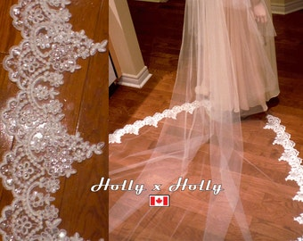 2 tiers lace cathedral veil, beaded, cathedral veil with blusher