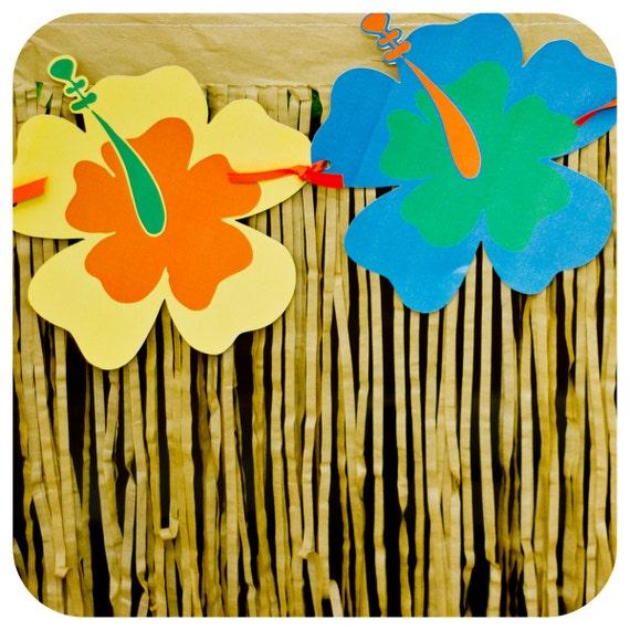 Luau Flower Garland Banner Luau Party Luau Birthday Party