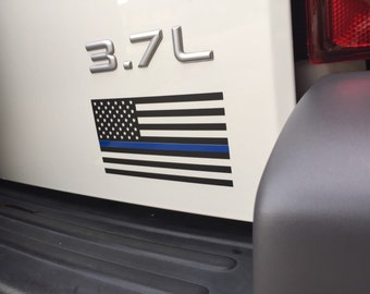 Thin Blue Line Flag Vinyl Decal American Flag Black White Police Cops LE FREE SHIPPING