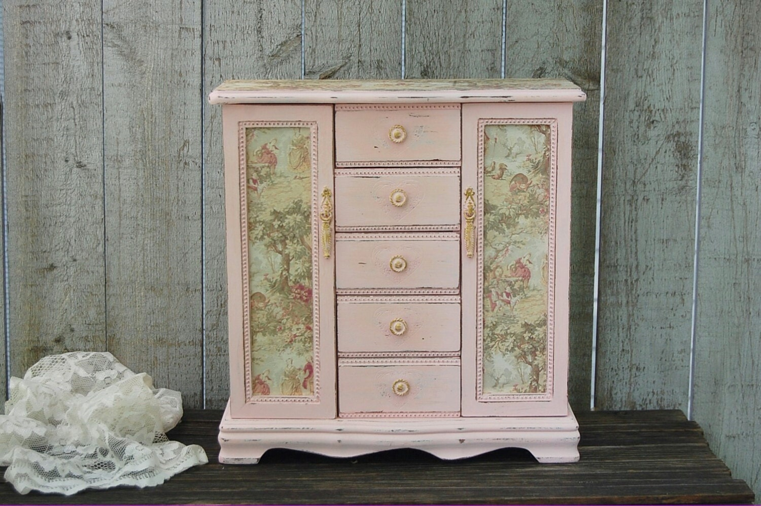 Jewelry Armoire Shabby Chic Jewelry Box Pink By