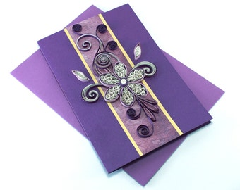 Birthday Card - Girlfriend - Mom - Paper Quilling Card - Quilled Flower - Purple Thank You Card