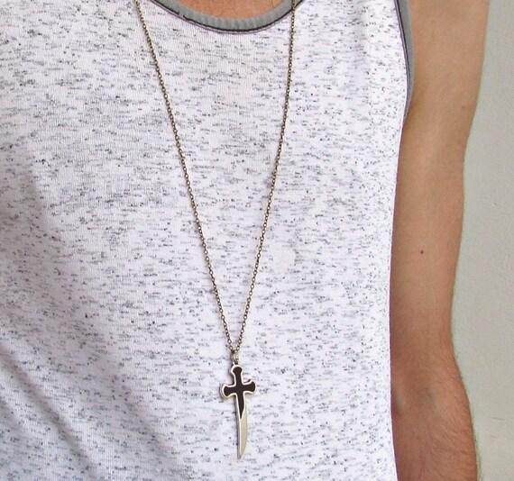 Sword Mens Long Necklace Unisex Mens Necklace