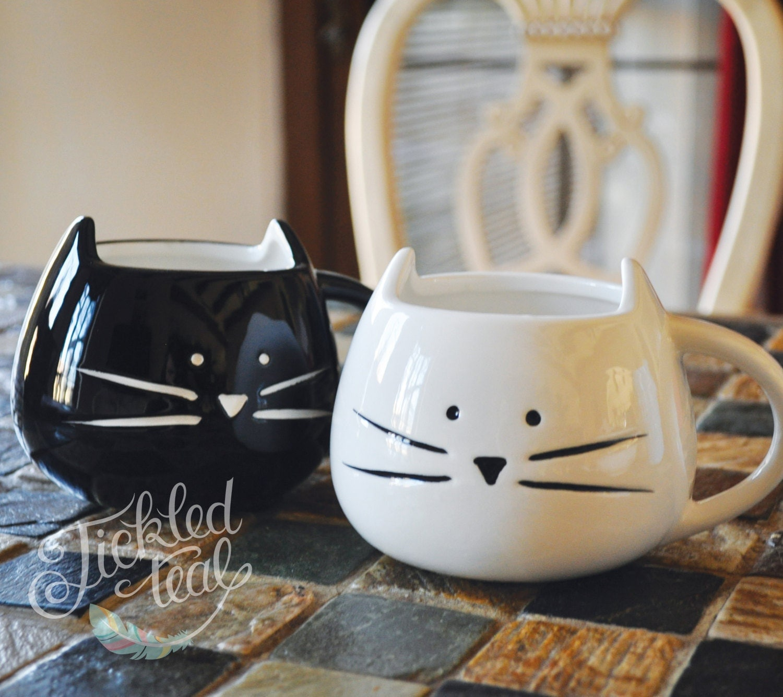 original texte personnalis cute cat mug blanc noir. Black Bedroom Furniture Sets. Home Design Ideas