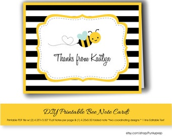 Bumblee Bee Printable Personalized Note Card, Bee DIY Printable Editable Note Card, Bumblebee Note Card with Editable Text, Bumble Bee note