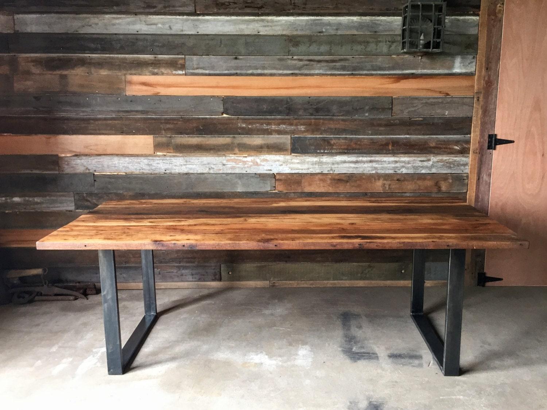 Industrial Modern Reclaimed Wood Dining Table U Shaped Metal