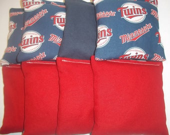 8 ACA Regulation Cornhole Bags - MLB Minnesota Twins & Solid Red