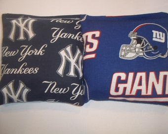 8 ACA Regulation Cornhole Bags - MLB New York Yankees & New York Giants NFL