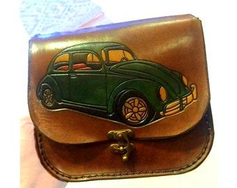 Valkswagen Leather Bag ,Vw Bug ,leather purse ,messenger bag ,valkswagen bag ,handmade
