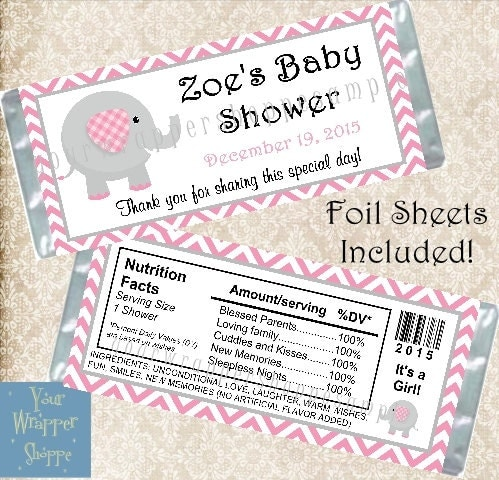 elephant chevron pink baby shower candy bar wrappers party