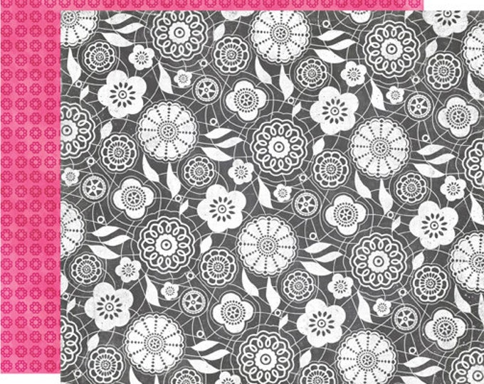 2 Sheets of Echo Park Paper HERE & NOW 12x12 Scrapbook Paper - Chalkboard Lace