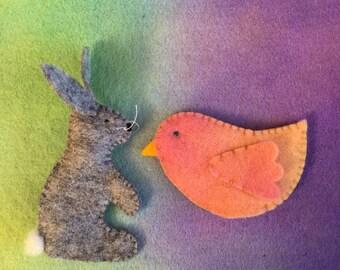 Bird and Bunny - Handmade Finger Puppets