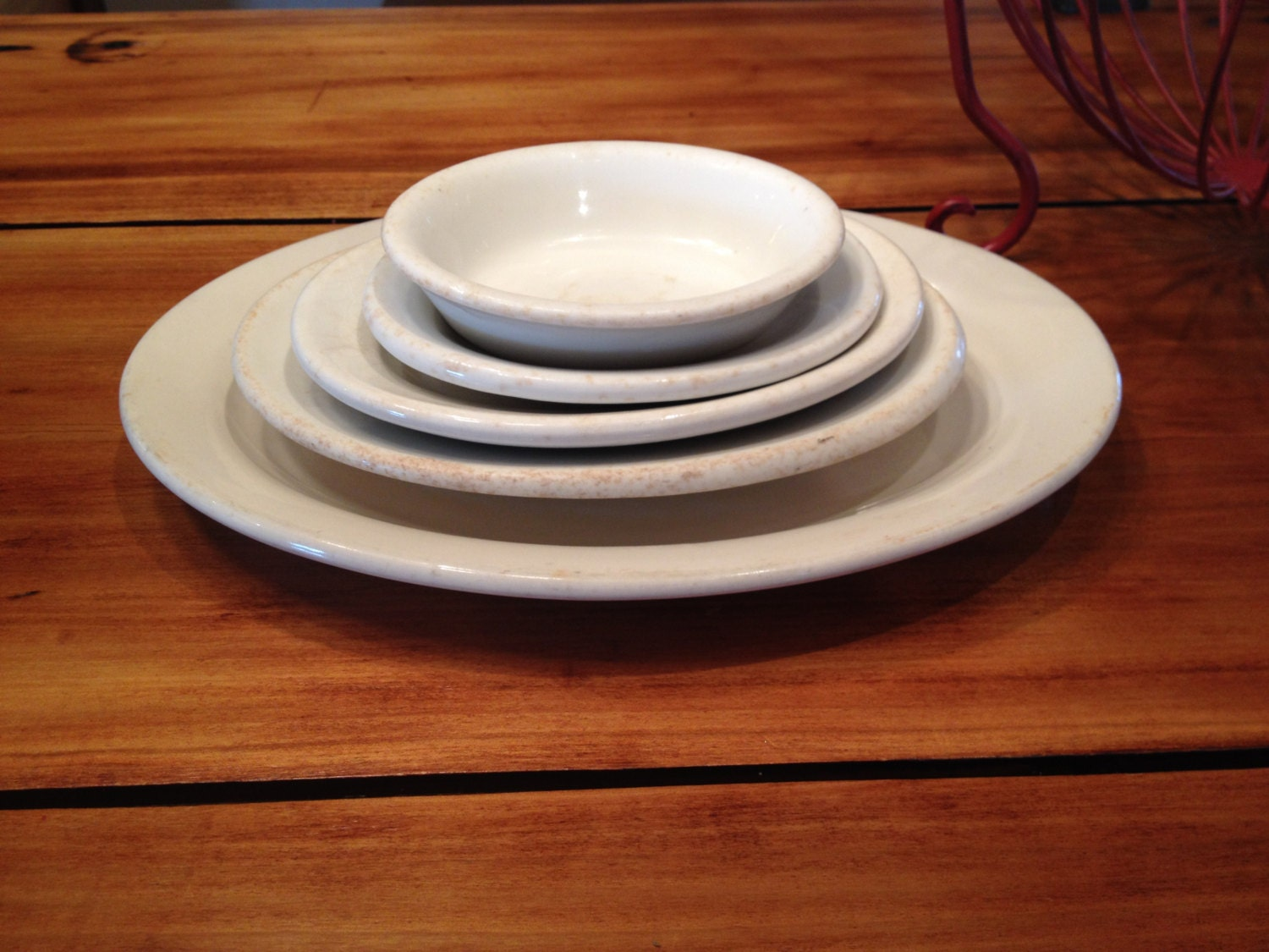 Antique Set of Five White Ironstone Platters Assorted Sizes Farmhouse Dishe