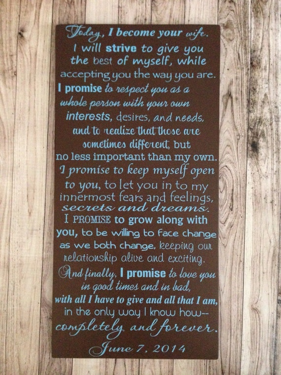 Personalized Wedding Vows Fifth Anniversary Gift Sign Custom