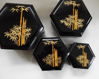 Asian black gold lacquer nesting boxes