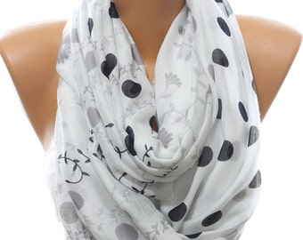Polka Dot Floral Print Lightweight Cotton So Soft White Scarf Fall Fashion Women's Fashion Accessories Christmas Gift Ideas For Her For Mom