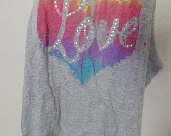 High Low Sheer Rainbow Heart Love Tattered and Torn Style Shirt