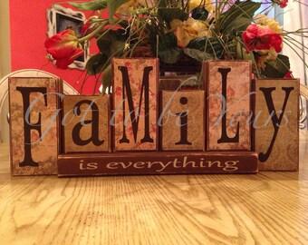 Wooden Family is everything Block Set large block set