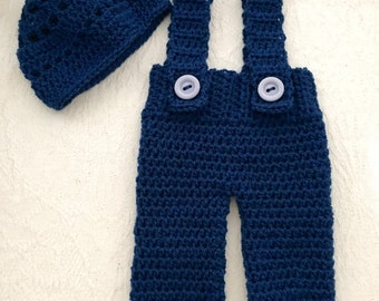 Handmade Crochet Baby Dungarees and Hat  Set in Blue 0-3 Months