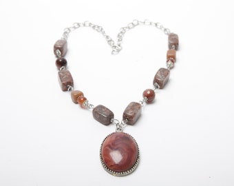 Charlotte Polished Stone and Silver Pendant