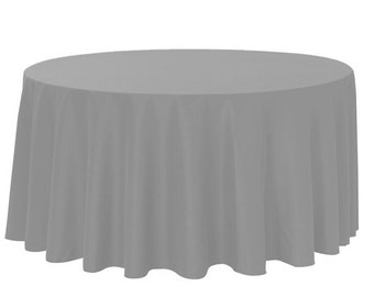 YCC Linen - 132 Inch Round Polyester Tablecloth Gray | Wedding Tablecloths