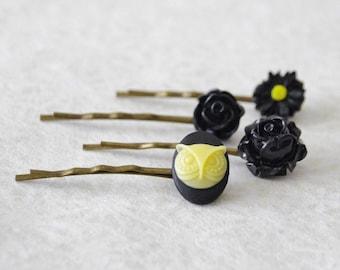 Black Flower Bobby Pin Set / Black Wedding Flower Bobby Pin Set / Owl Hair Pins / Pretty Vintage Hair Pins