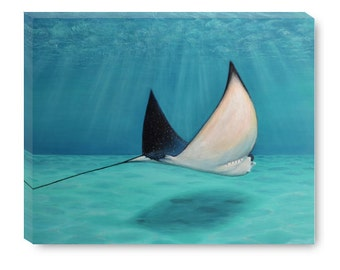 Stingray Gallery Wrapped Canvas Metallic Print Ready to Hang with All Edges Painted