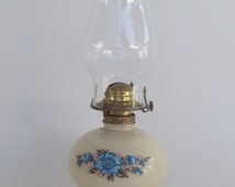 FREE SHIPPING - Vintage Ivory Reverse Painted Glass Kerosene Hurricane Oil Lamp with Chimney, c.1970's - Price Includes Shipping