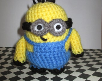 Crochet Minion Jorge Stuffed Two-Eyes with Buzz-Cut
