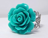 Teal Rose Ring; Antique Silver Filigree Ring; Flower Jewelry; Teal Green Ring; Adjustable Ring; Nature Jewelry; Resin Rose Cabochon Ring