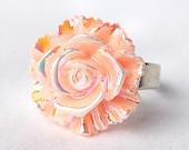 Peach Rose Ring; Resin Flower Ring; Light Orange Ring; Rainbow Rose Jewelry; Adjustable Silver Ring; AB Rose Cabochon Ring; Unique Ring