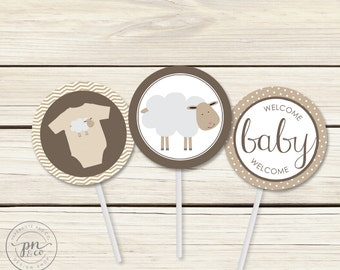 Instant Download - Sheep Baby Shower Toppers/Gift Tags // Baby Shower Tags // Lamb Theme // Cupcake Toppers // DIY Printables
