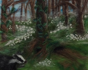Badger in Snowdrop Woodland