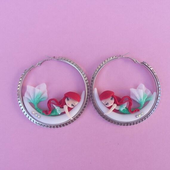 mermaid earrings on the moon fimo polymer clay