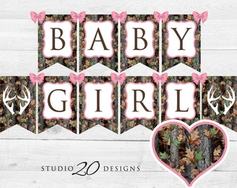 Instant Download Pink Camo Baby Shower Banner, Baby Girl Camouflage Bunting  Banner, Realistic Camo