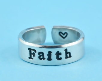Faith Ring - Hand Stamped Aluminum Cuff Ring, Inspirational Ring