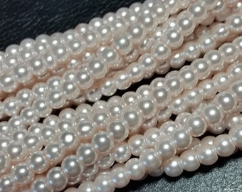 Ivory round glass pearls - 6mm