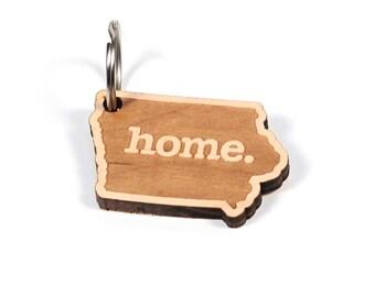 Iowa Key Charm by Home State Apparel: Laser Engraved Wood Keychain, IA