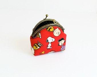 Snoopy Fabric Pouch / Peanuts Retro Frame Purse - Cartoon Coin Purse