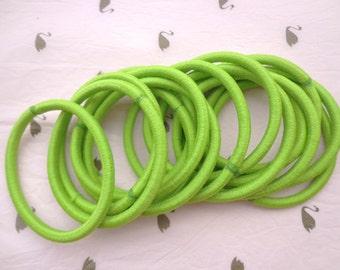 Sale--50 pcs green  hair elastics, ponytail elastics,ponytail holders,pigtail holders