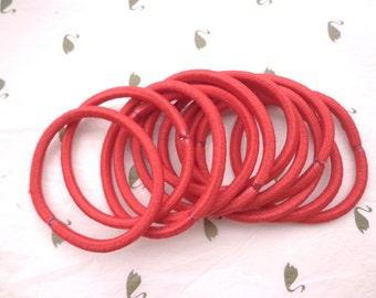 Sale--50 pcs red hair elastics, ponytail elastics,ponytail holders,pigtail holders