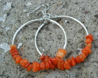Orange Quartzite Large Hoop Earrings