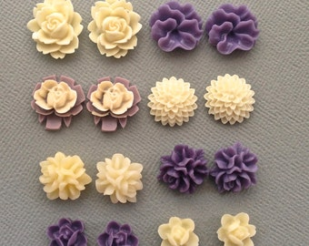 16 pcs resin cabochon flowers ,assorted sizes,#FL066