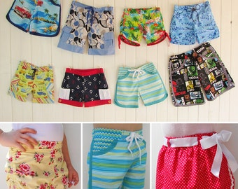 STAR SHORTS 5 in 1 PDF sewing pattern 5 styles w. interchangable waistbands + extras! surfer, ...