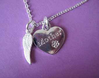 In Memory of Mother Necklace Bereavement Gift Heart Charm Angel Wing Pendant